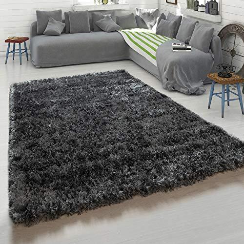 Paco Home Hochflor-Teppich, Kuschelig Weicher Flokati-Teppich, Einfarbig In Grau Anthrazit, Grösse:120x160 cm