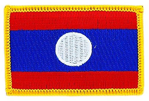 Patch Aufnäher Bestickt Flagge Laos Laos zum Aufbügeln Abzeichen Wappen Backpack