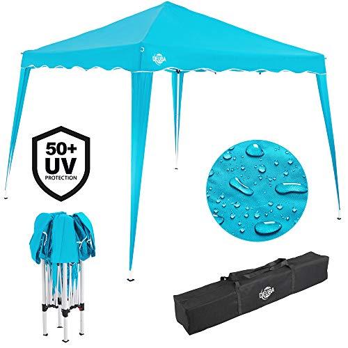 Deuba® Pavillon Capri 3x3m wasserdicht Pop-Up inkl. Tasche UV-Schutz 50+ Faltpavillon Gartenzelt Partyzelt Hellblau