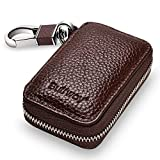 Buffway Car Key Holder,Genuine Leather Car Smart Keychain Coin Case Metal Hook and Keyring Wallet Zipper Case for Auto Remote Key Fob - Coffee