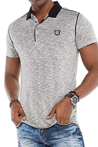 Cipo & Baxx Herren Poloshirt Basic Polo T-Shirt Kurzarm Meliert Slim Fit Graumelange M