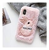 DAKJFFF Caso for el iPhone 11 XR 7 8 11 Pro MAX X XS MAX Plus 6 6s Cubierta de Felpa Conejo con Cuentas con Todo Incluido Soft-Shell (Color : Full Pink, Material : iPhone 11 Pro)