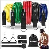 Fasce di resistenza BEVILLE, set di 11 fasce fitness per un totale di 150 libbre, espansione toracica per interni / esterni per fitness, forza, perdita di peso, yoga