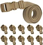 XTACER 1-Inch Molle Backpack Accessory Strap Luggage Straps Cover Strap Sleeping Bag Strap with Buckle (Pack of 10) (60-inches, Khaki)