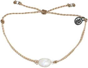 Pura Vida Silver or Gold Gemstone Bracelet - Waterproof, Artisan Handmade, Adjustable, Threaded, Fashion Jewelry for Girls/Women