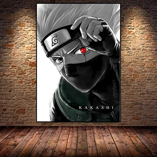 JHGJHK Cartel de Arte Moderno Anime japonés Naruto Naruto Kakashi Cartel Impreso Pared hogar Sala de Estar decoración de Pared Pintura al óleo (Imagen 5)
