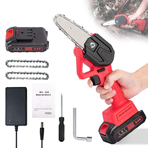 Mini Chainsaw Cordless Handheld 4-inch Battery Powered Portable Electric Hand Saw Pruning Chainsaw with Replacement Chain 24V Rechargeable Battery for Tree Branch Trimming Wood Cutting