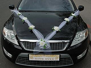 ORGANZA M Auto Schmuck Braut Paar Rose Deko Dekoration Autoschmuck Hochzeit Car Auto Wedding Deko Girlande PKW Ecru / Weiß