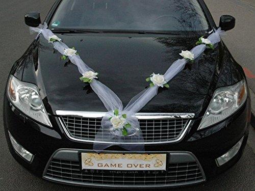 ORGANZA M Auto Schmuck Braut Paar Rose Deko Dekoration Autoschmuck Hochzeit Car Auto Wedding Deko Girlande PKW (Ecru / Weiß)