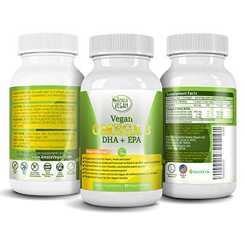 POTENT VEGAN OMEGA 3 Supplement: Better Than Fish Oil! Plant Based Water Extracted Algae Oil- DHA EPA DPA Fatty Acids- Non GMO- Improve Immune System, Joint, Heart, Skin & Brain Health- 2 Month Supply