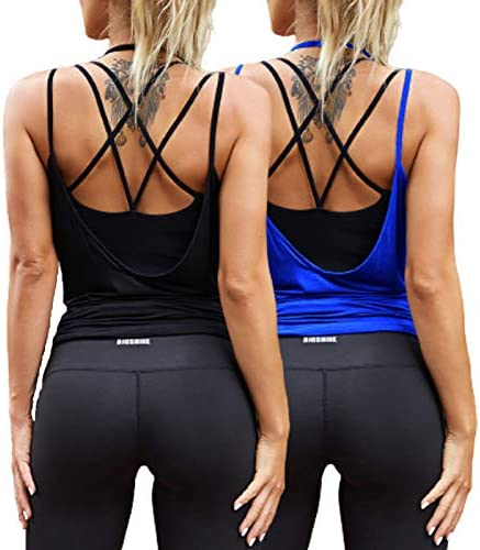 Tobrief Womens Muscle Tank Athetic Top Gym Yoga Shirts Pilates Activewear Clothes Open Back product image