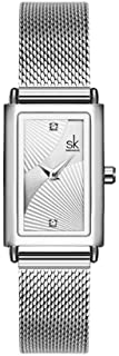 SHENGKE Female Watch Rectangle Case Quartz Watch with Stainless Steel Milanese Mesh Band Business Casual Class Dress Watch,Relogio Feminino