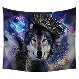 #Wandteppich #Wolf #Wolfskopf #Krone #farbig 130x150 oder 150x200cm
