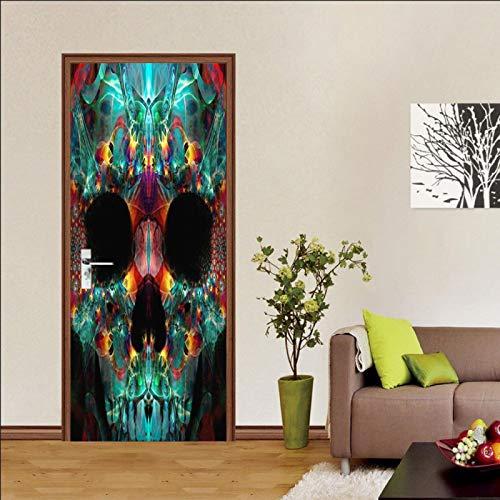 LuSeven vinilo cristal puerta Color cristal calavera 40x120cm(15.74 inches * 47.24 inches) puerta con efecto 3D para puerta, cocina, salón, dormitorio, cuarto de baño, estilo de papel pintado para par