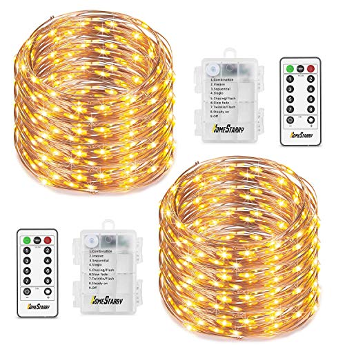 Homestarry 2 Sets Fairy Lights, Battery Operated String Lights Waterproof 8 Modes with Remote, 50 Led 16.4 ft Indoor Lights Copper Wire Twinkle Lights for Bedroom Wedding Party,Warm White