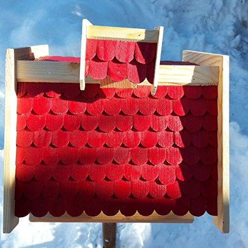 Vogelhaus-XXL mit Holzschindeln und Putzklappe lasiert Vogelhäuser-Vogelfutterhaus großes Vogelhäuschen-aus Holz Wetterschutz (Rot) - 2