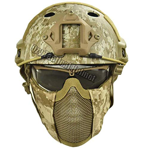 QZY Taktischer Fast Helm mit Protect Ear Steel Mask & Goggle Set für Airsoft Paintball Protective Anti-Riot Helm,DD