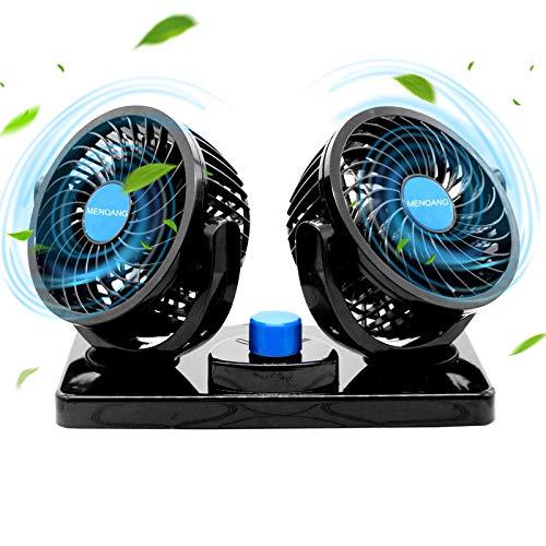 MENQANG Ventilador de Coche 360 ° Giratorio Cabezas Dobles Ventilador 12v con Encendedor de Cigarrillos Potente Silencioso 2 Velocidades Aire Acondicionado Coche para SUV RV ATV Barco Carro. (Negro)