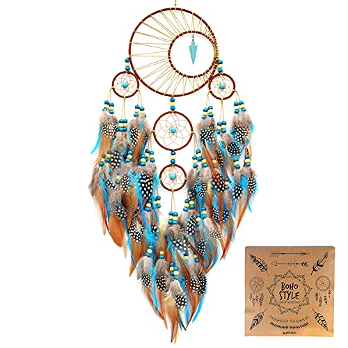 """Urdeoms Dream Catcher Large Dream Catchers with Turquoise Boho Wall Hanging for Bedroom Dorm Living Room Dia 6""""(NO.34)"""