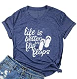 Life is Better in Flip Flops T Shirts Women Letter Print Funny Summer Tee Shirts (L, Blue)