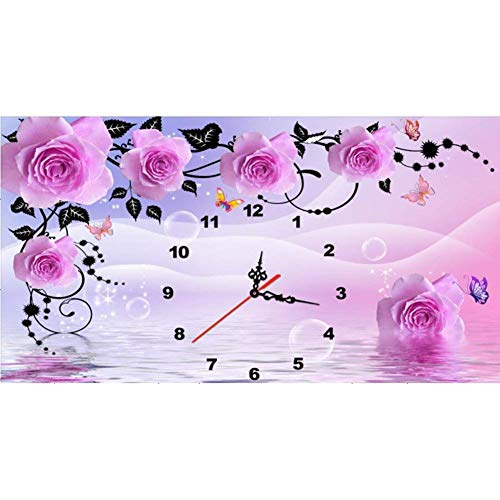 Sunnay Diamond Painting, Weihnachtsmann Unterwegs 5d Diamant Painting DIY Weihnachten Mode Stickerei Malerei Kreuzstich Kunstharz Dekoration Kit Kristalle Dekor Handwerk (Groß Blume Uhr, 40 * 60cm)