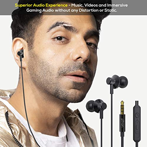 pTron Pride Lite HBE (High Bass Earphones) in-Ear Wired Headphones with in-line Mic, 10mm Powerful Driver for Stereo Audio, Noise Cancelling Headset with 1.2m Tangle-Free Cable & 3.5mm Aux - (Black)