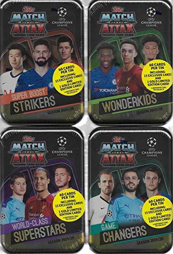 Match Attax Juego completo de 4 latas con cada una de las superestrellas, huelguistas, Wonderkids y cambiador de juegos con tarjetas de oro y exclusivos