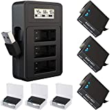 TOMSHEIR Replacement Batteries for Gopro Hero 8/7/6/5 (3-Pack) and USB Fast Charger for GoPro Hero 8 Black,Hero 7 Black,Hero 6 Black,Hero 5 Black (Fully Compatible with Official)