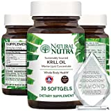 Natural Nutra Krill Oil 500mg with Astaxanthin, Omega 3 Fatty Acids, Cognitive Health, Joint Health, Pure Antarctic Marine Source, EPA and DHA, Whole Body Health, Gluten Free, 30 Softgels