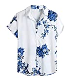 U/A Camisa de manga corta con estampado geométrico de bloques de color Hip Hop para hombre Azul azul 3XL