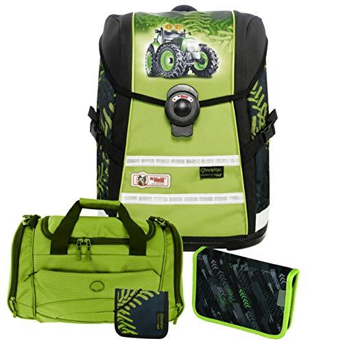 GREENTRAC - Traktor - McNeill Ergo Light Move mit Blinklicht Schulranzen-Set 4tlg. mit passender Sporttasche