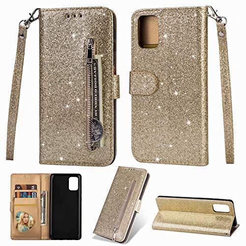 Nadoli Glitzer Handyhülle für Samsung Galaxy S10 Lite,Reißverschluss Kartentaschen Entwurf Hell Glänzen Magnetverschluss Flip Bling Schutzhülle Etui im Brieftasche-Stil