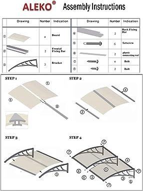 ALEKO DC40X80BR Polycarbonate Outdoor Window Door Canopy UV Rain Snow Protection 40 x 80 Inches Brown