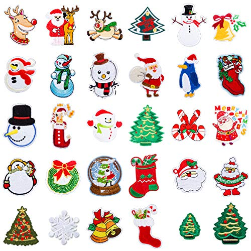 MADHOLLY 30 Pcs Christmas Patches- Christmas Tree Santa Snowman Elk Stocking Iron-on or Sew-on Embroidered Decoration Patch Applique for T-Shirt Coat Jeans Hat Handbag DIY Crafts