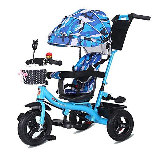 Triciclo Bebe Evolutivo Plegable para Niños más de 18 Meses Guardabarros Rueda de Seguridad Neumáticos para Coches y Conducción Silenciosa,18 Meses - 5 Años,hasta 30kg (Bleu)