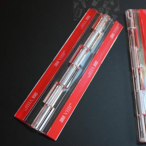 4x Bisagras acrílicas: no se requiere pegamento. Autoadhesivas. Plástico transparente acrílico 150mm