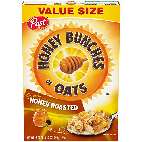 Post Honey Bunches of Oats Crunchy Honey Roasted, Whole Grain, Low Fat Breakfast Cereal, 28 Oz