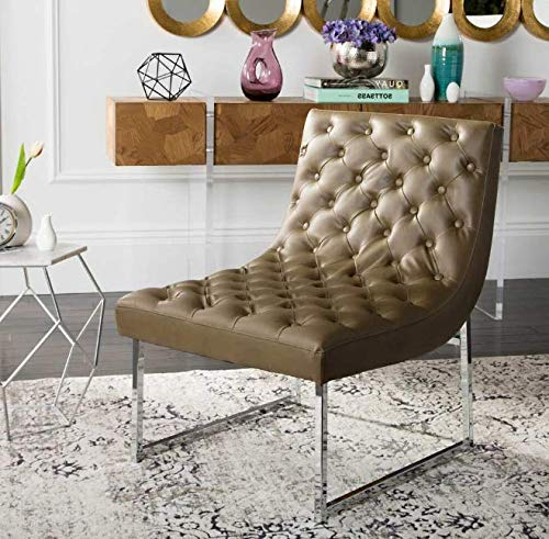 Media Room Chairs- Slipper Chair- Leather Antique Taupe Club Chair 25' x 30' x 32'- Lovely Color and A Soft, Cozy Seat