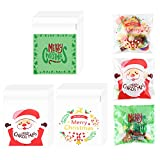300 Pezzi Sacchetti Caramella di Natale,Trasparenti Sacchetti Biscotti autoadesivi Buon Natale Sacchetti di cellophane di Babbo Natale per forniture regalo per feste,Bomboniere per feste(3 stili)