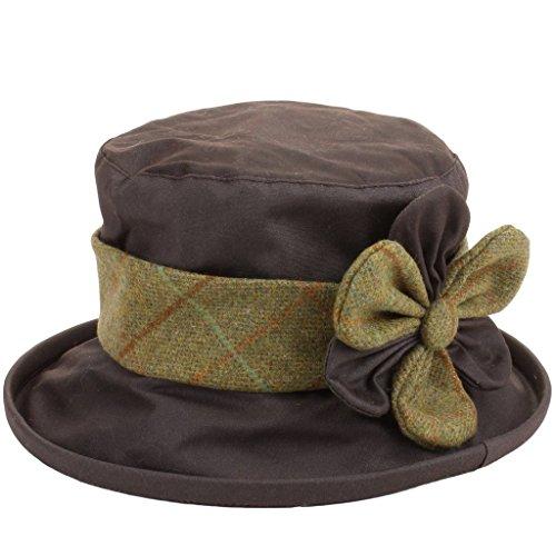 Hawkins Country Collection Wax Cloche Hoed met Tweed Band & Bloem Douchebestendig