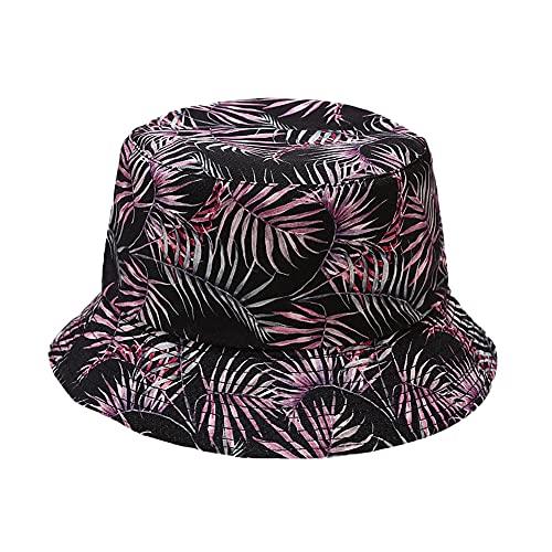 Mujer Sombrero de Pescador de Impresión Retro Plegable Algodón Bucket Hat,Hombre Protección Sol Gorro de Playa Al Aire Libre Viajes Sombrero para Sol,Unisexo Estampado de Plantas Gorro Pescador 50