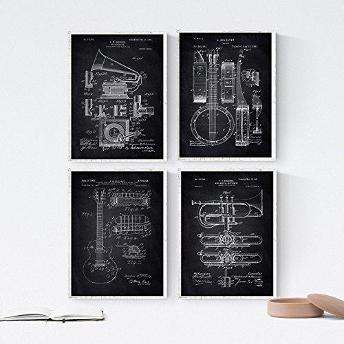 Nacnic Negro - Pack de 4 Láminas con Patentes de Música. Set de Posters con inventos y Patentes Antiguas. Elije el Color Que Más te guste. Impreso en Papel de 250 Gramos de Alta Calidad