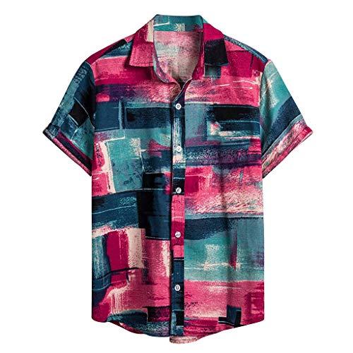 Herren Henley-Shirt, Kurzarm Front-Tasch, leicht Hawaiihemd Freizeithemd Button Down Aloha Shirt Hawaii-Print | Strand Palmen Meer