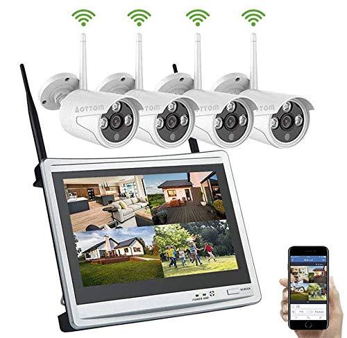 """WLAN Überwachungskamera Set Aottom Außen Funk Überwachungssystem mit 12\"""" Monitor 1080P 8CH NVR mit 4 x 1080P Kamera WiFi für Drinnen und Draußen, Bewegungserkennung, Email Alarm, APP-Push, No HDD"""