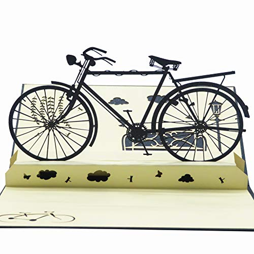 Smiling Art Pop Up 3D Karten, Glückwunschkarten inklusive Umschlag und Schutzhülle, handgearbeitet, handgefertigt, Geschenkkarte für Gutschein, Einladungskarte, Geburtstagkarte… (Fahrrad)