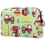 Bolsa de maquillaje para camión de bomberos de bomberos para bolso de viaje, neceser, organizador de cosméticos, portátil, versátil con cremallera, para mujeres y niñas