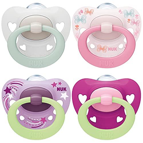 NUK chupetes para bebés noche y día | 0-6 meses | Chupetes que brillan en la oscuridad | Silicona sin BPA | Rosa | 4 unidades