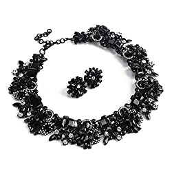 Black Statement Necklace Earrings Set with Rhinestone