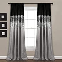 """Lush D cor Night Sky Panel for Living, Bedroom, Dining Room (Single Curtain), 84"""" x 42"""", Grey and Black"""