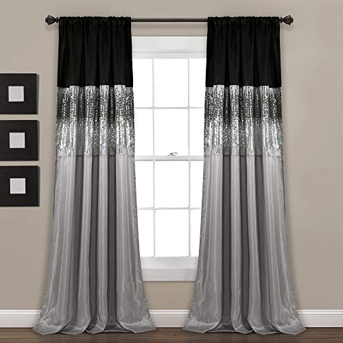"Lush Décor Night Sky Panel for Living, Bedroom, Dining Room (Single Curtain), 84"" x 42"", Grey and Black"
